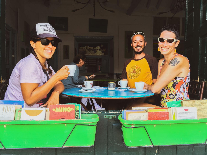 Enjoying a cappuccino with John and Mandi