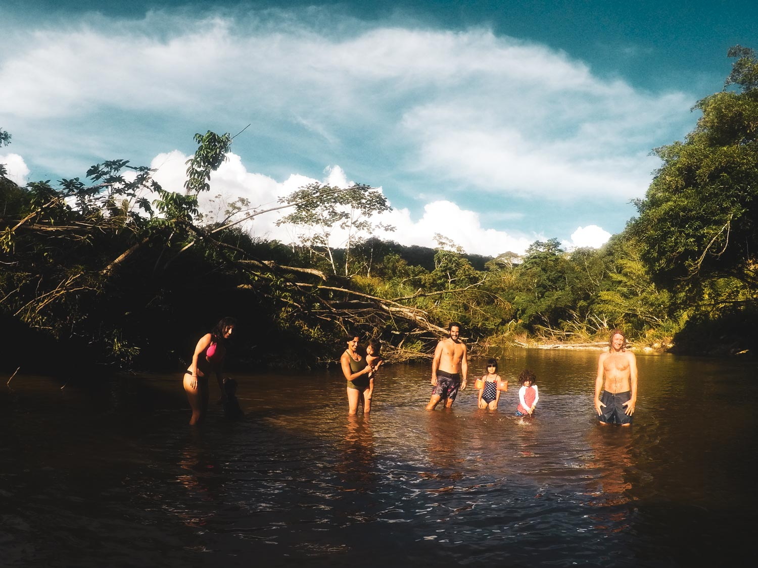 Spending time with friends in the river, Chirapa Manta