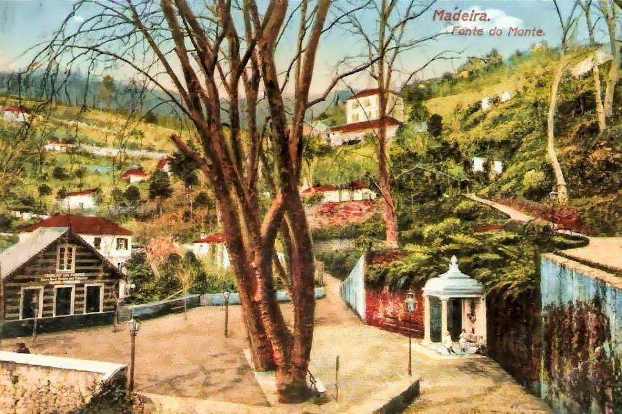 Largo da Fonte no início do séc. XX   reprodução de um cartão postal editado por Barrault Photographie