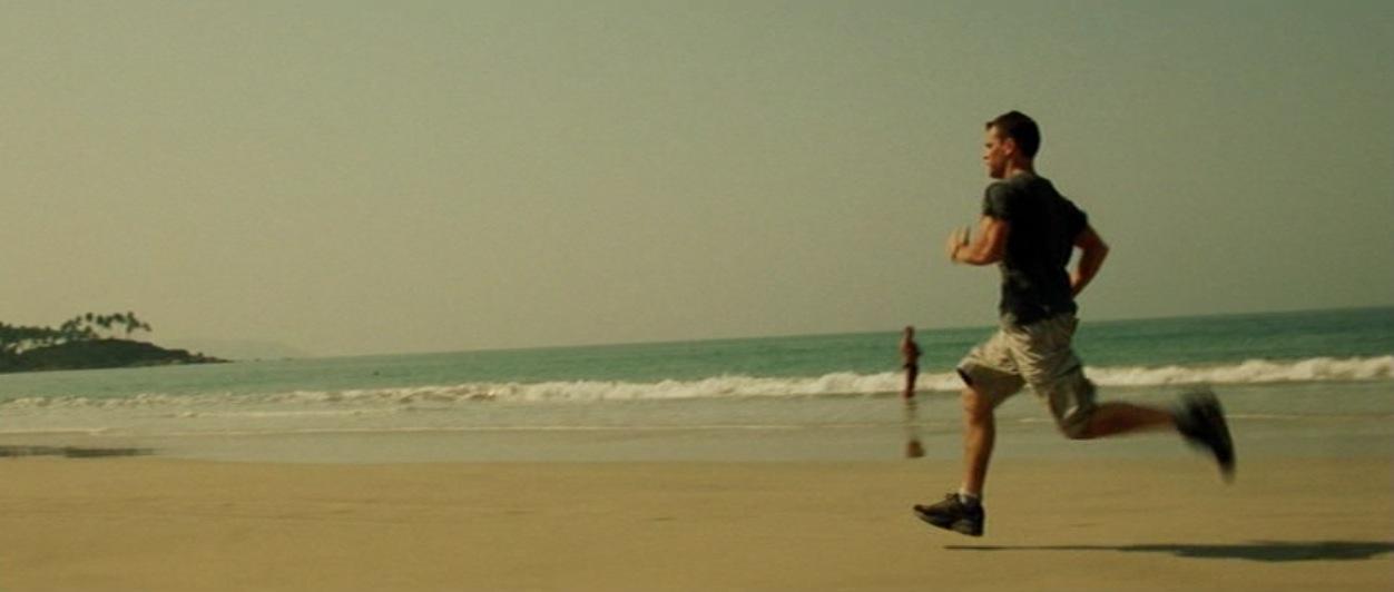 Matt Damon running down the Goa beach in the Bourne Supremacy