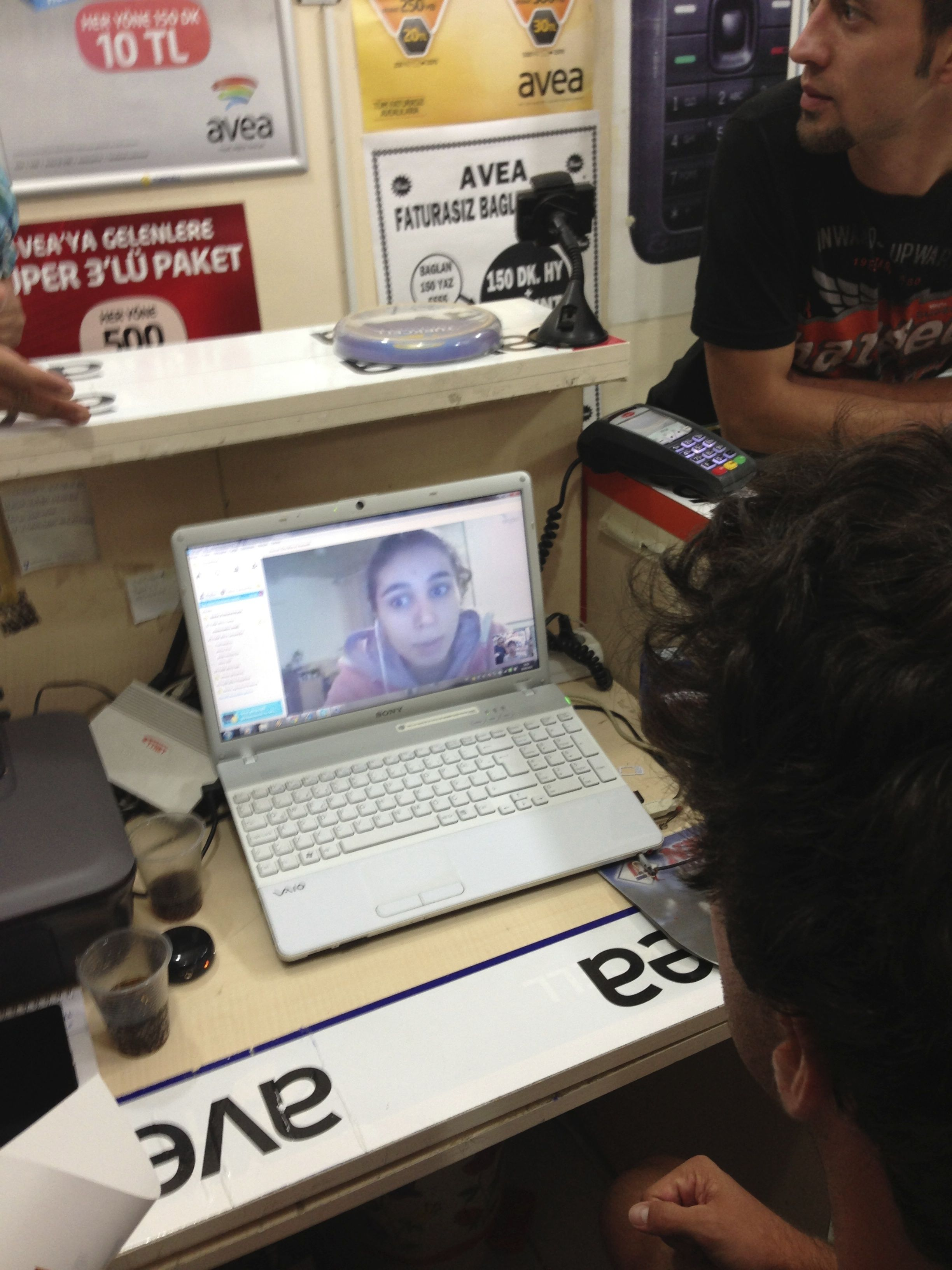 The skyped in niece of a Turkish guy, helping us translate