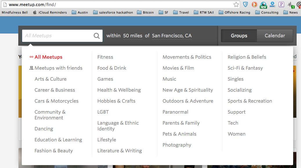 Meetup.com categories