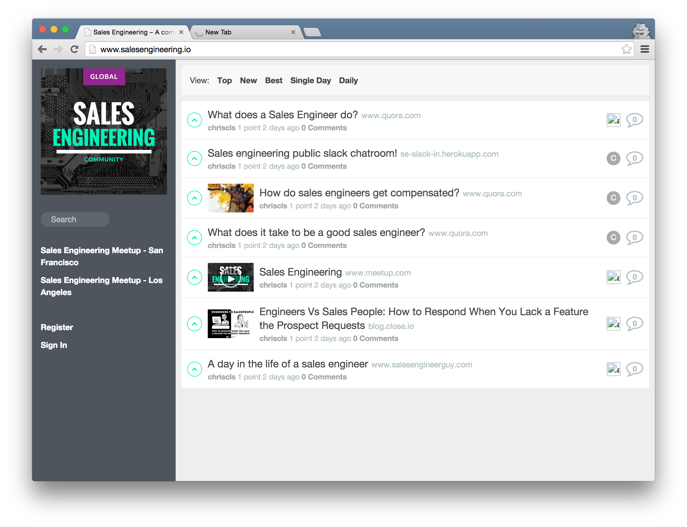 Sales engineering community page for knowledge sharing