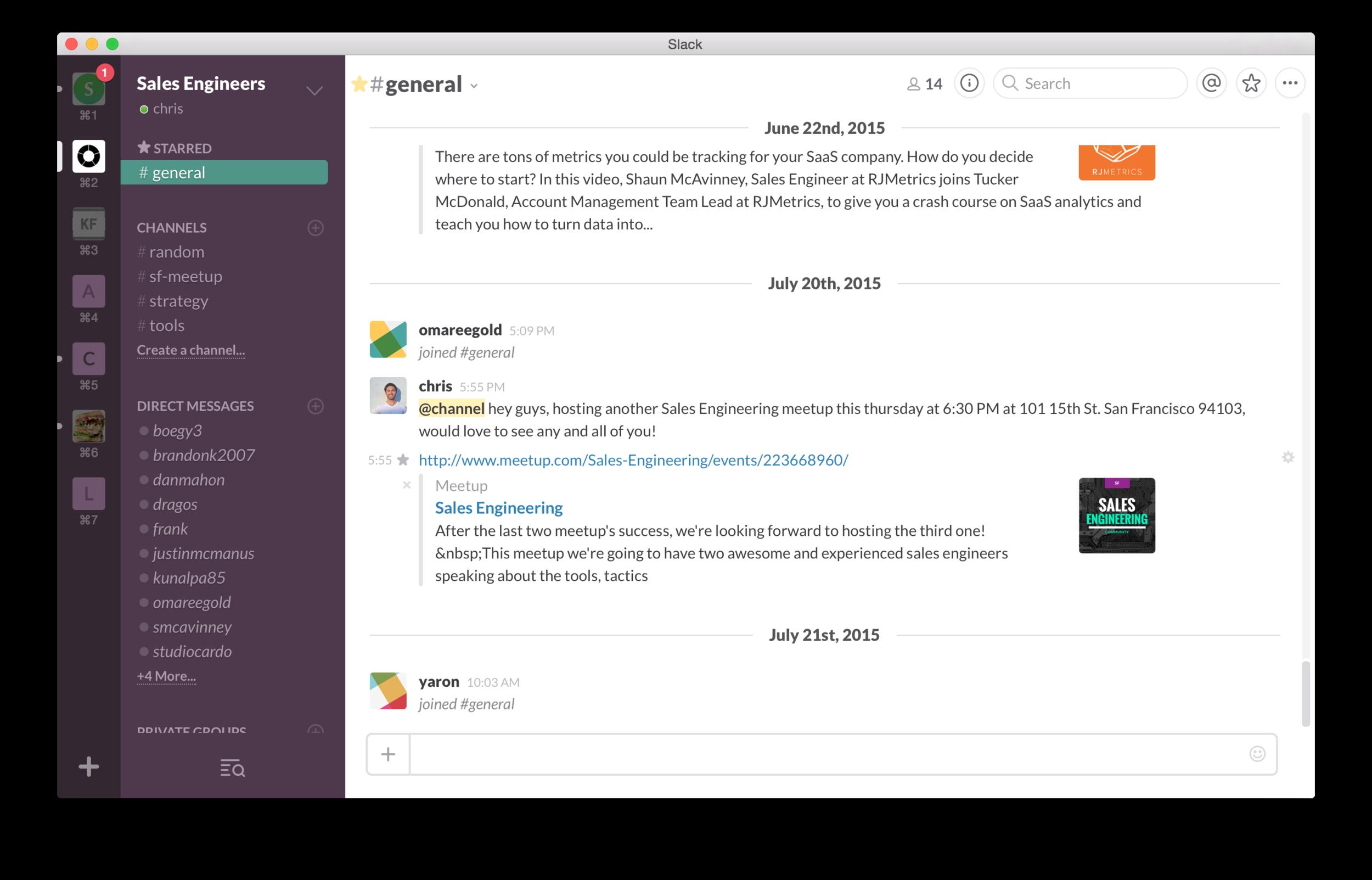 Sales engineering slack chatroom