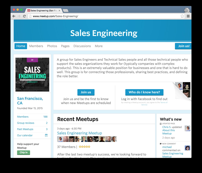 Sales engineering meetup in San Francisco