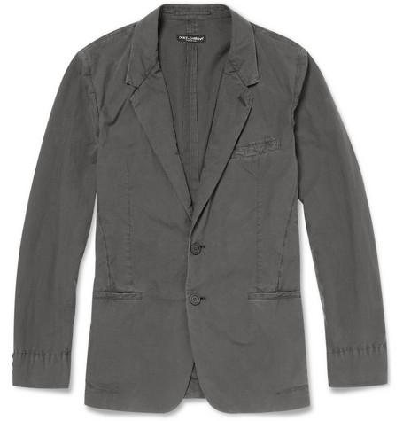 Washed Slim-Fit Cotton Blazer by Dolce & Gabbana