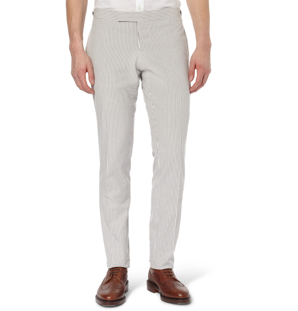 Cotton Seersucker Trousers by Thom Browne