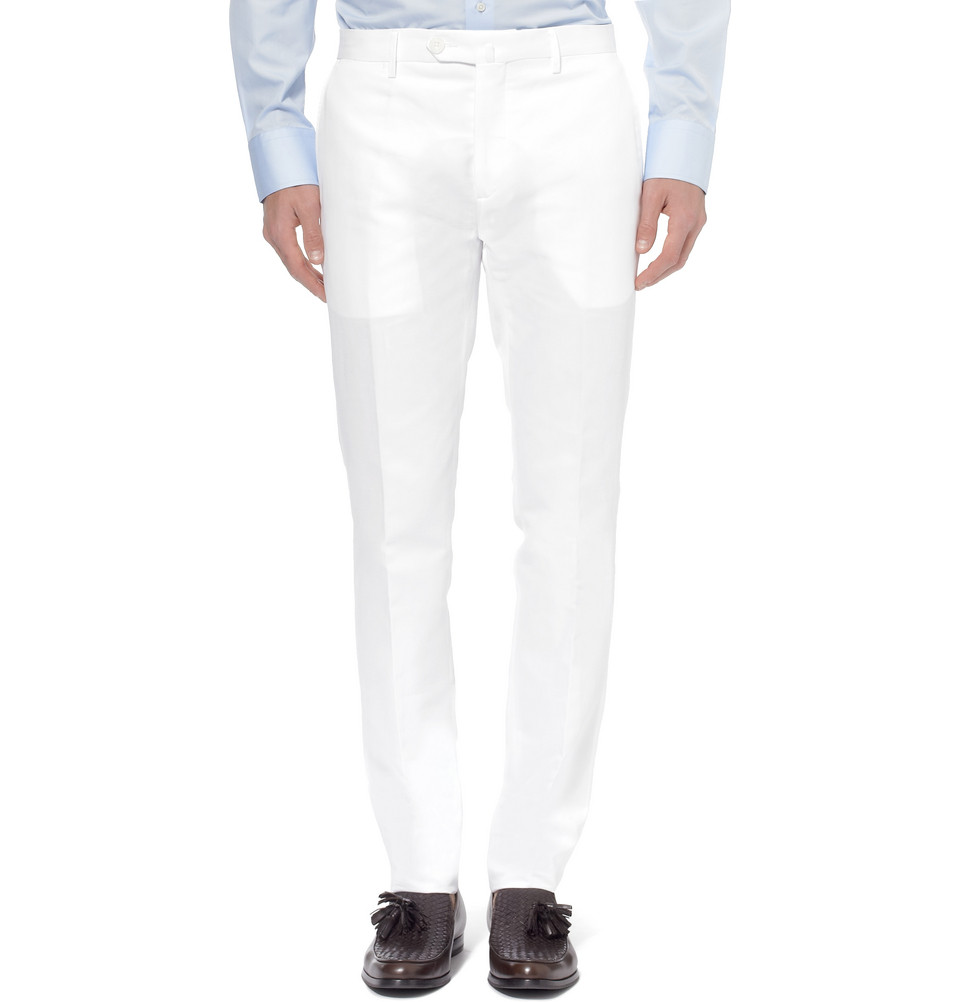 Tapered Cotton/Linen Blend Trousers by Hackett