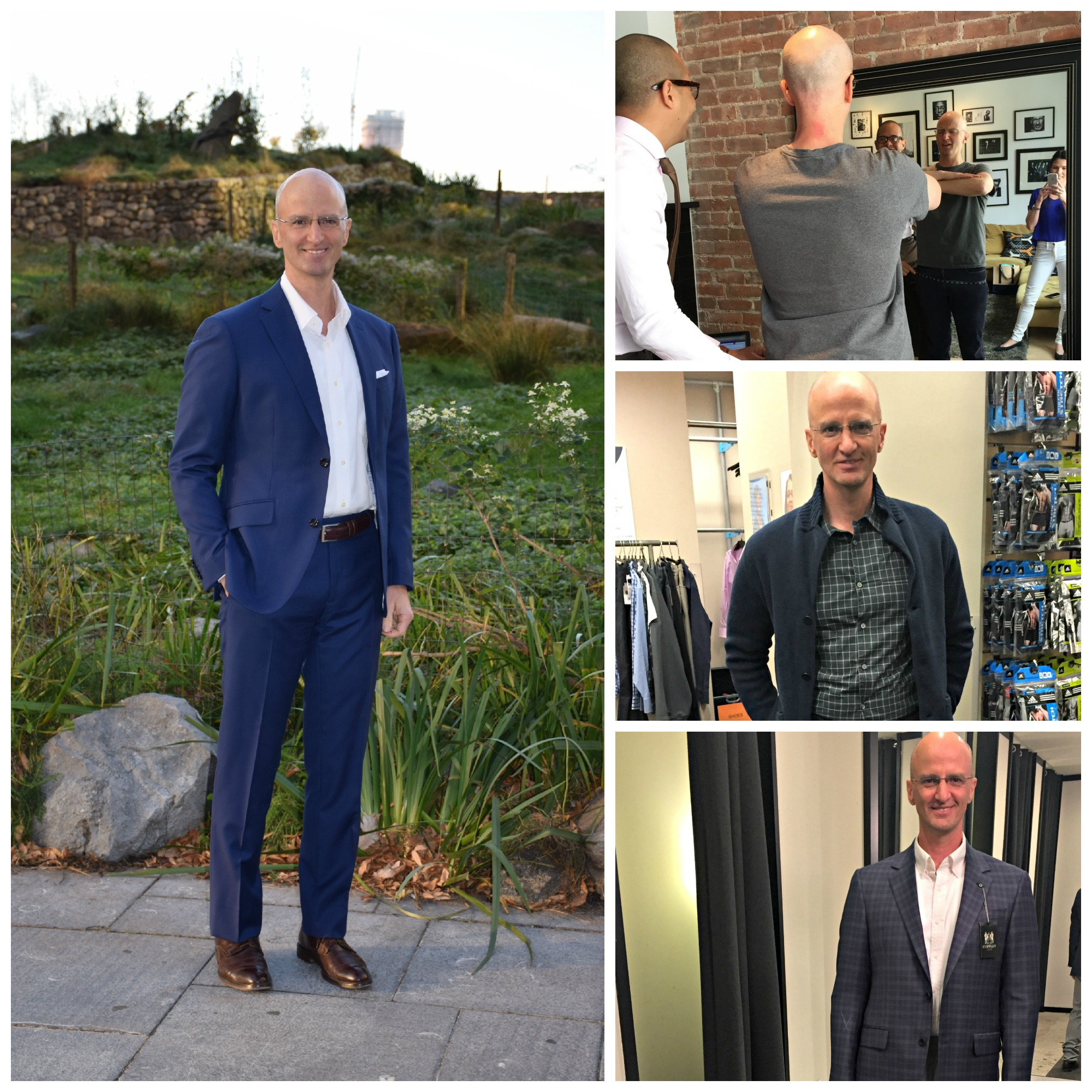 John,  Managing Director at a bank in NYC,  and Author of  Working Out Loud .  From left clockwise: One of John's very handsome final looks, getting fitted for a suit with custom tailor Ian Rios, trying on key pieces for his weekend wardrobe, and finding a favorite sport coat at Rothman's.