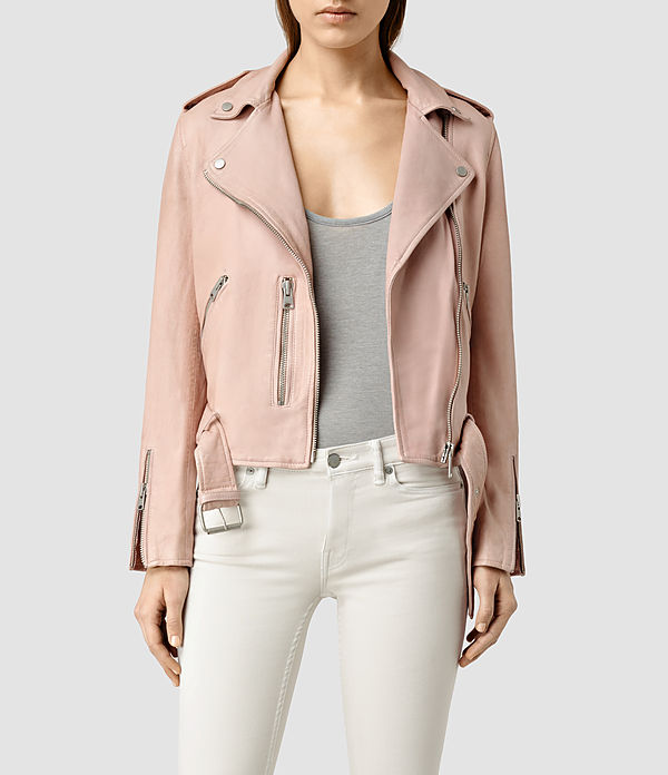 Love this cropped leather jacket in blush  by www.us.allsaints.com