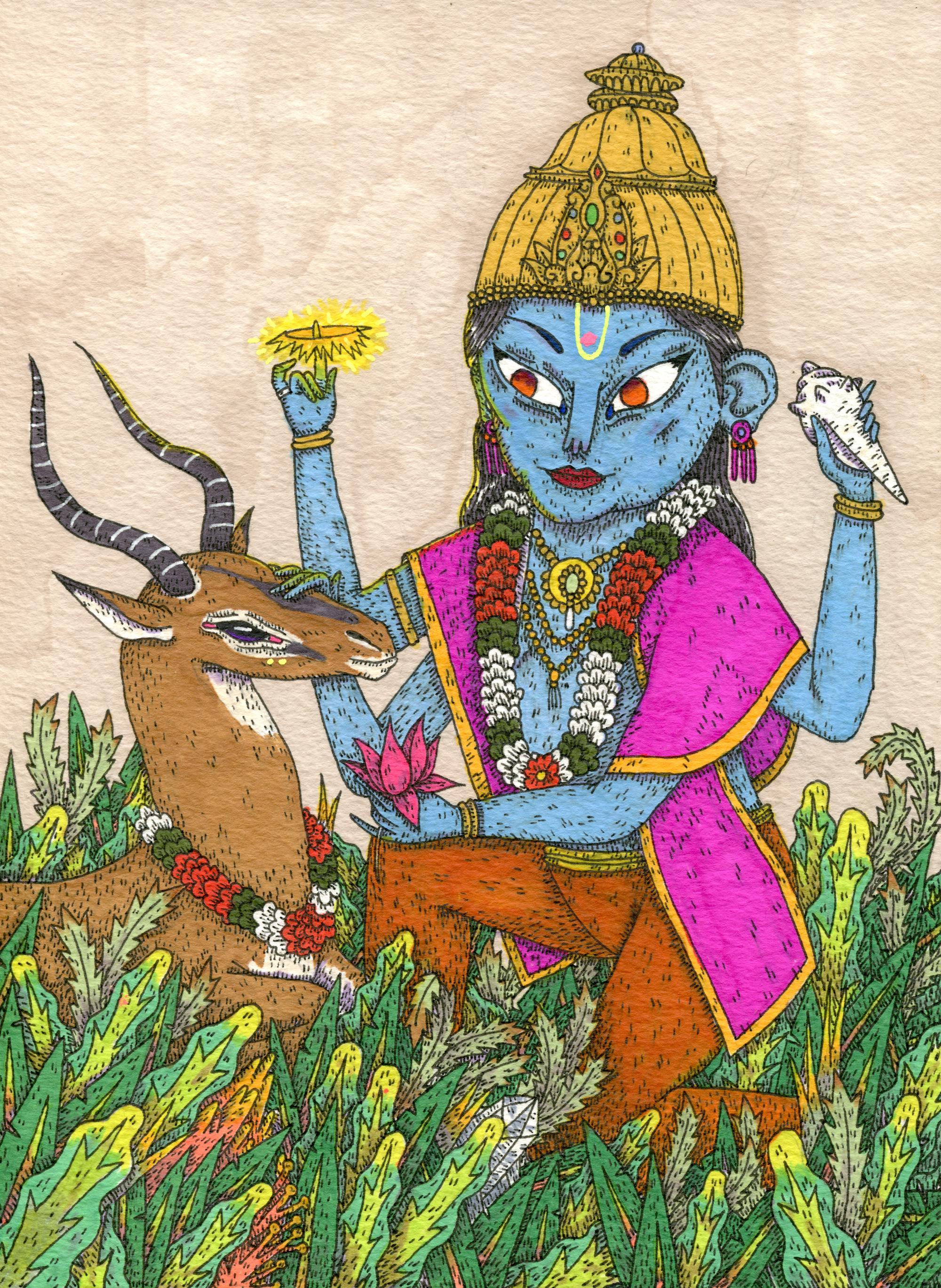 Vishnu with an impala