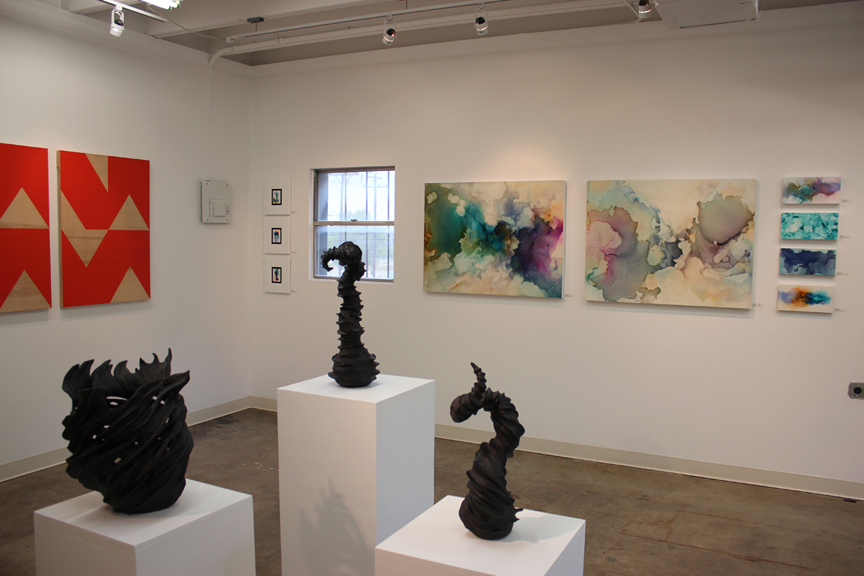 Installation photo from East Austin Studio Tour, November 2014. Polly Lanning Sparrow (left), Judith Simonds (center), Andrea Pramuk (right wall).