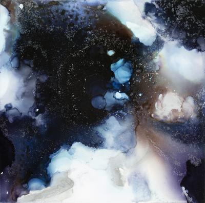 Cosmosis II,  ink and acrylic on panel, 16x16, 2016