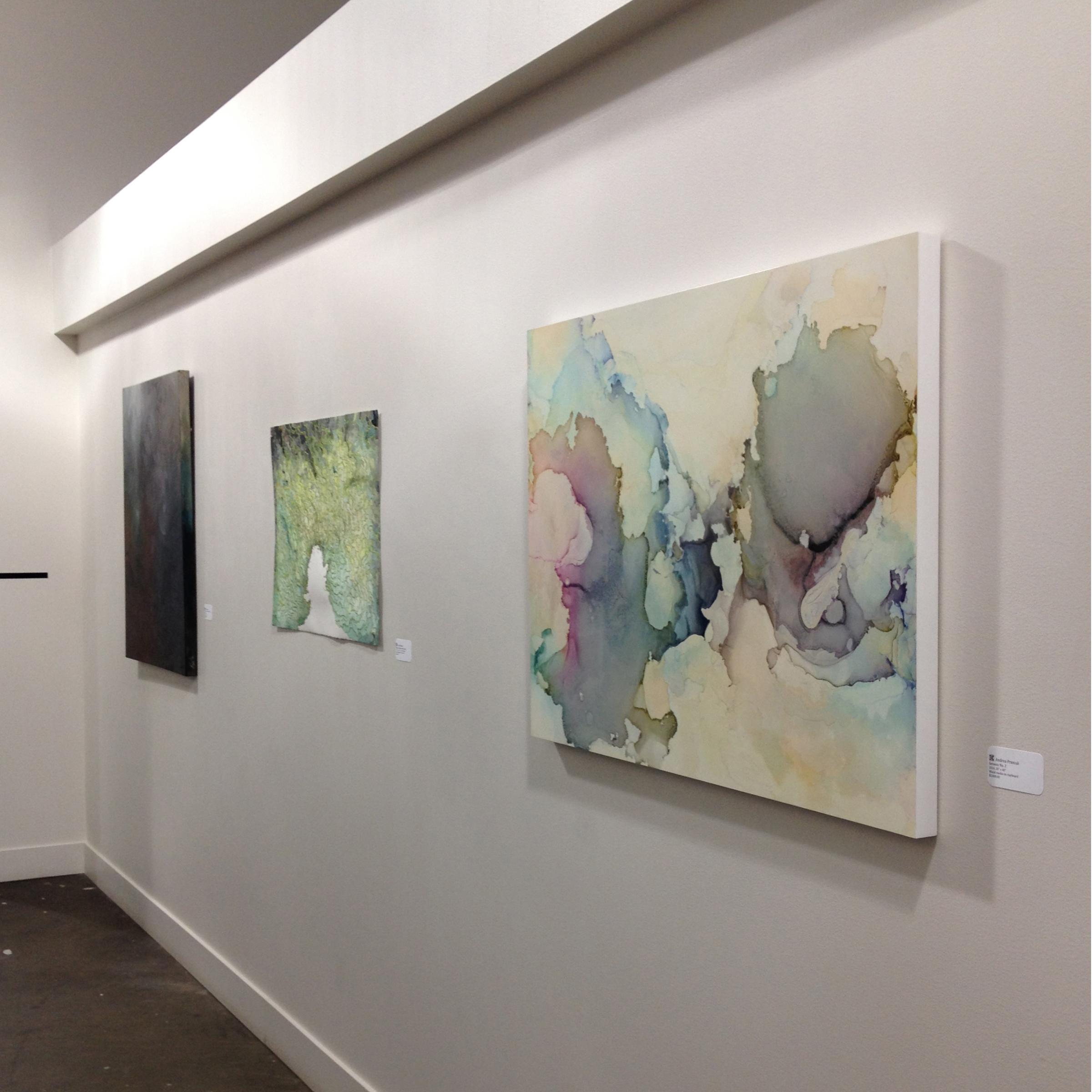 Camiba Art , Austin, TX,  Flow , 2/1/15 – 4/5/15 with artists  Paul Booker  (center),  Nicola Parente  and  Misha Penton  (shown left).  Genesis II  (right)