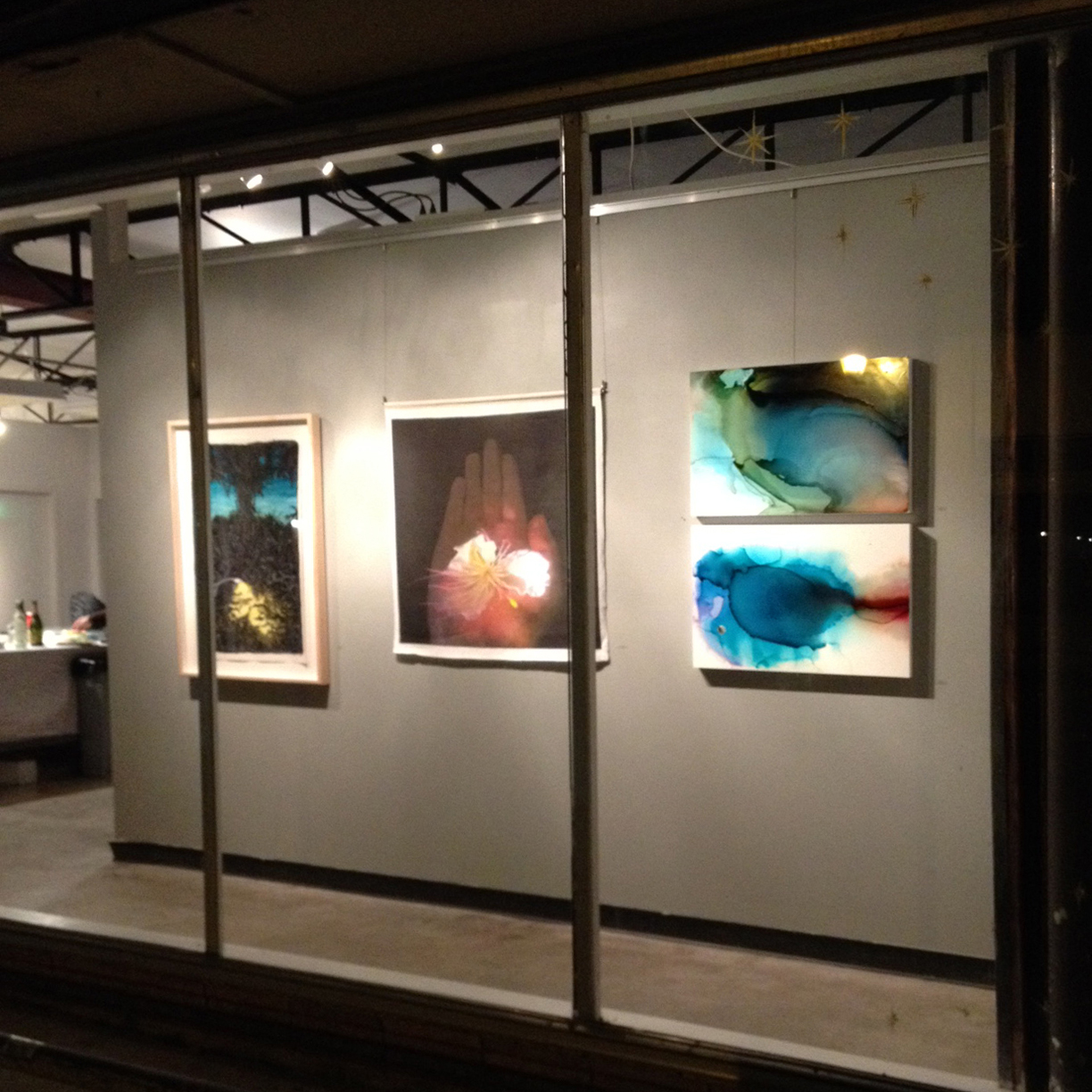 agavePRINT , Austin, TX,  SHADOWS + Light , 12/16/14 - 1/8/2015. Shown with artists  Valerie Fowler  (left) and  Nancy Mims  (center).  Space Between  and  Abyss  far right.