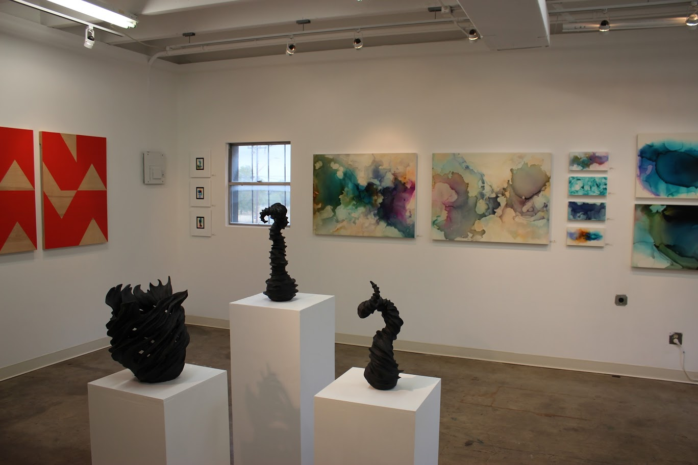 East Austin Studio Tour,   Slugfest Gallery  2014, Austin, TX, 11/15-11/16 and 11/22-11/23, Shown with  Polly Lanning Sparrow  (left) and  Judith Simonds  (center).  Genesis I and II  and other works on the far wall are by Andrea Pramuk.