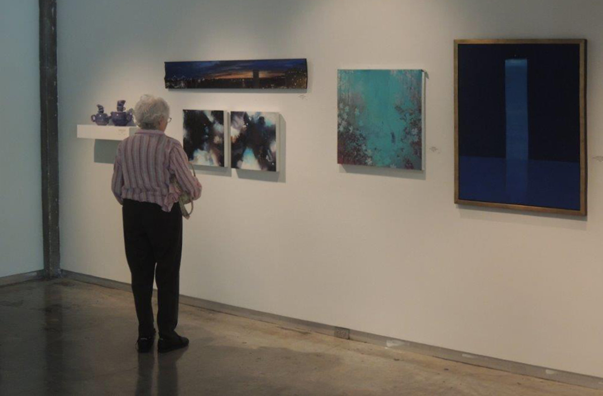 Glassell Gallery | LSU School of Art | Shaw Center for the Arts , Baton Rouge, LA. How High's the Water, Mama? 6/25/16 - 8/14/16. My mother, Mary Pramuk, pictured above looking at Cosmosis I and II. The work of my father, Edward Pramuk, is pictured on the far right.