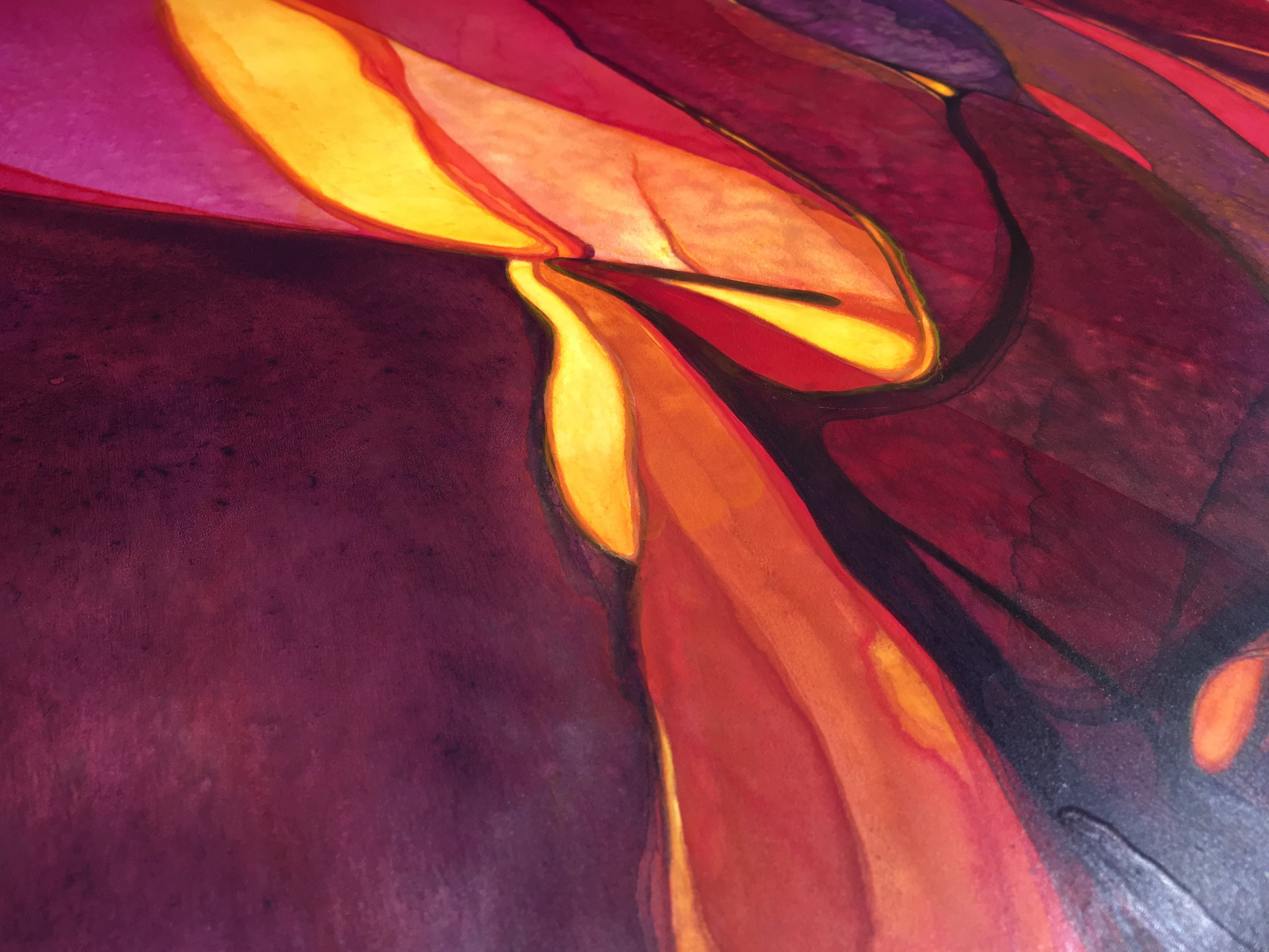 Another detail of  Slow Burn . The final varnish really brings out the textures and layers of color.