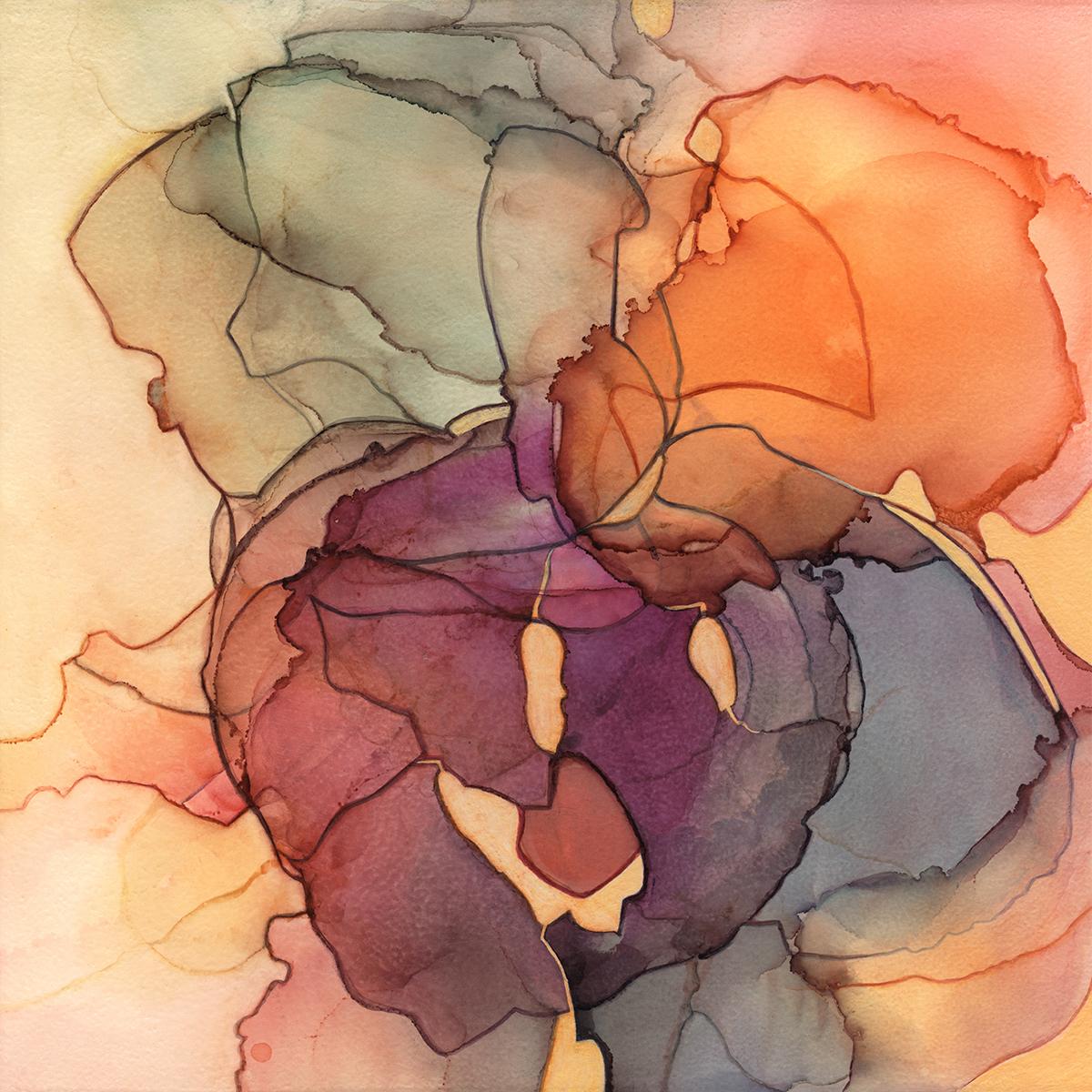 "Ordinary Heart,  in on Claybord, 10""x10"", 2018."