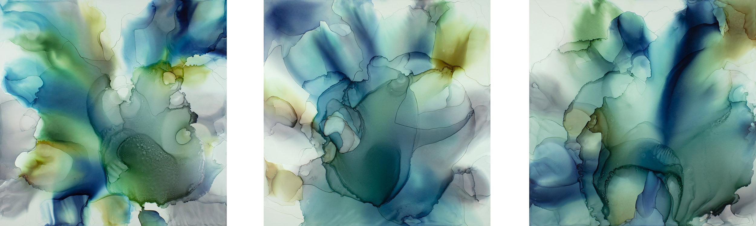 """Rakuyou A1-A3 (triptych) , 1000mm x 1000mm originals (approx 39""""x118"""")"""