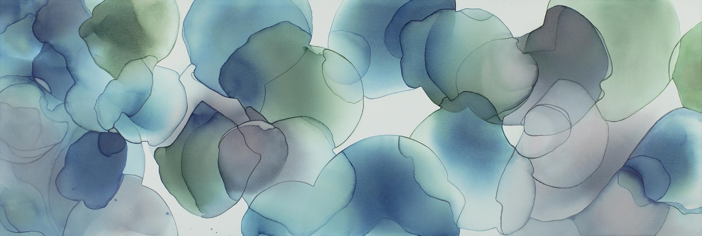 "Study for Shizuku , ink and acrylic on canvas, 12""x36"" original."