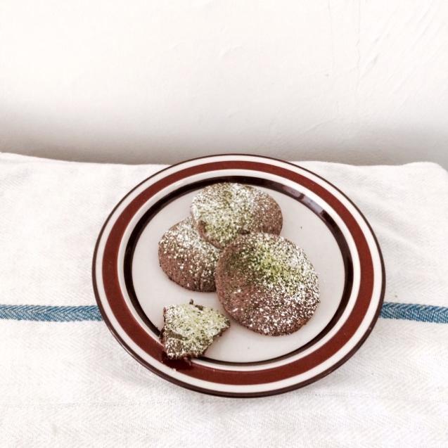 Tartine's Peanut Butter Cookies given a black sesame treatment.