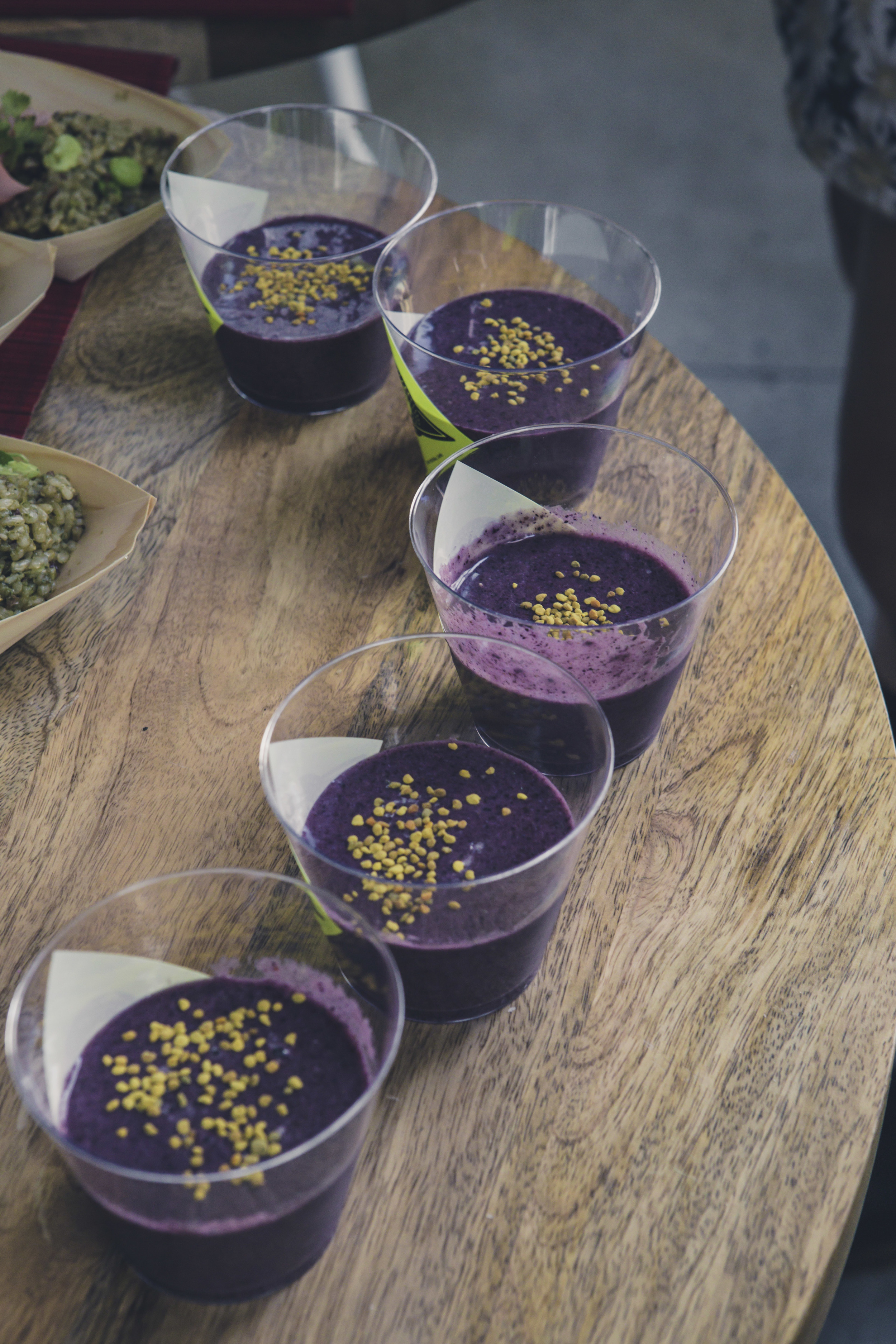 Football Cafe's  Dr. Socrates smoothie: Avocado, raw coconut water, blueberries, coconut oil, sprouted pumpkin seeds,raw honey, and bee pollen.