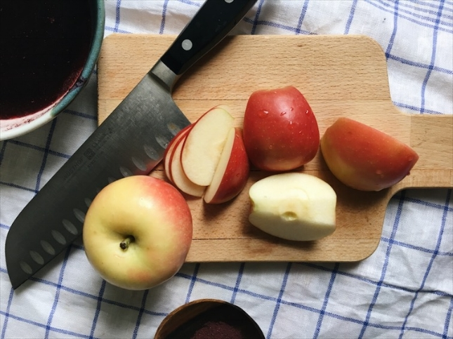Thinly slice those perfectly crisp Gala apples!
