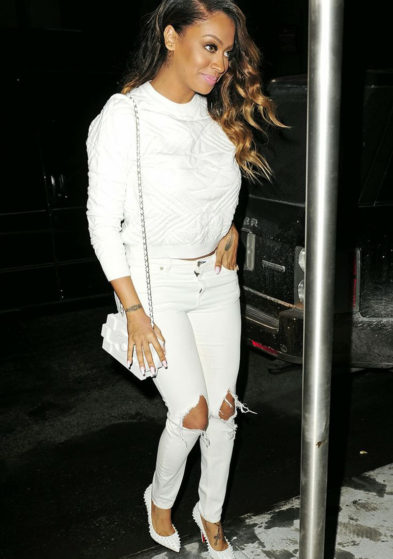 Lala Anthony rocks one of our  favorite  looks—winter whites—flawlessly. Head-to-toe details  here .
