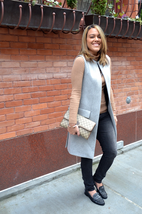 Wearing: Zara Studio Vest, Gap Turtleneck, AE Jeans, Zara Necklace + Shoes, Gucci Bag