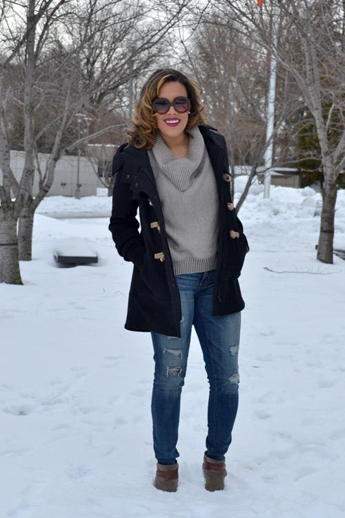 Wearing: AE Sweater + Jeans, Free People Coat, Dolce Vita Booties, Prada Sunglasses