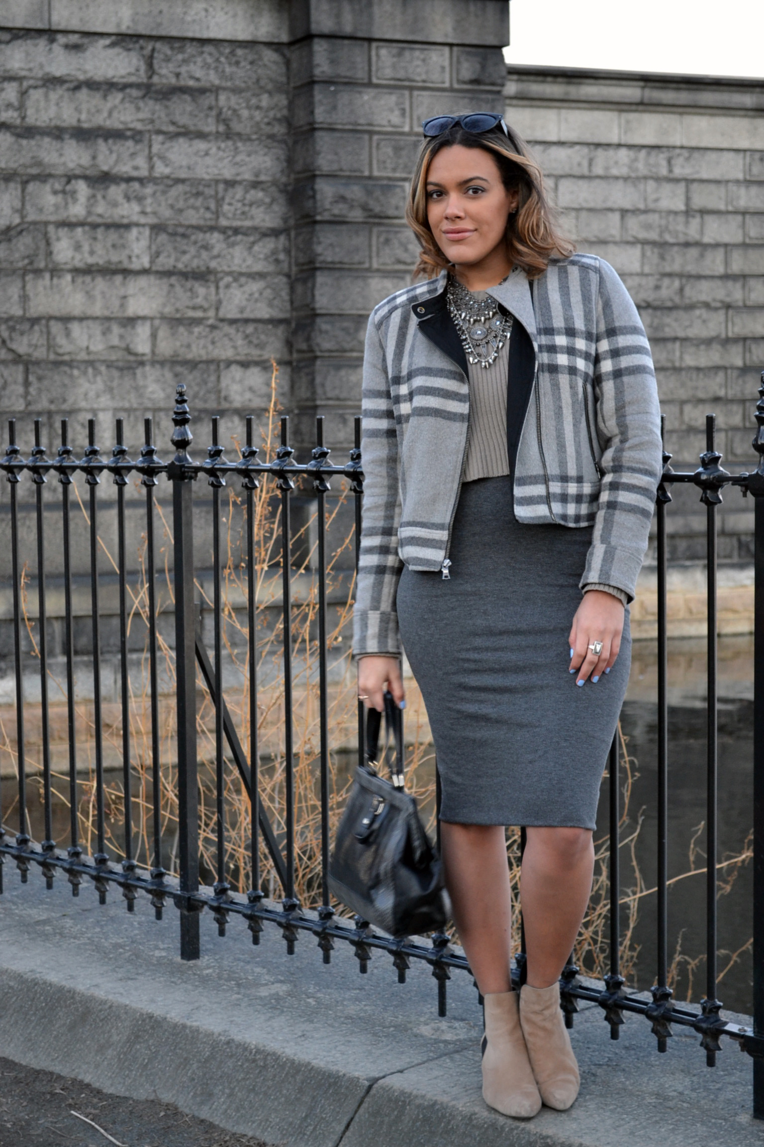 Wearing: Gap Jacket (sold out), Express Skirt ( here ), Zara Booties (sold out) & Necklace, Forever 21 Sweater, Cole Haan Bag (old)