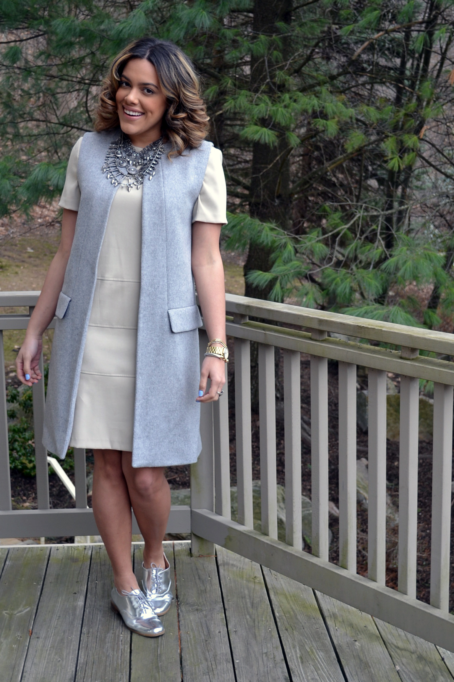 Wearing: Thrifted Dress, Zara Vest Coat + Necklace, JustFab Shoes
