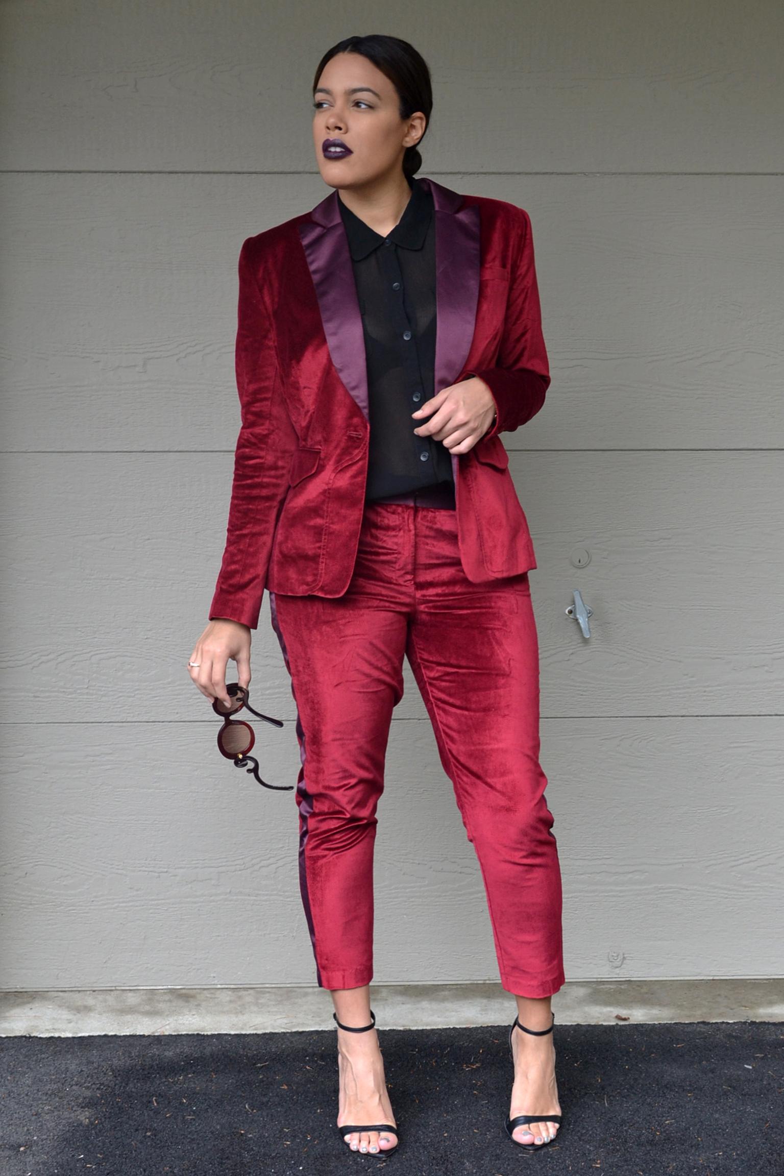 how-to-wear-altuzarra-for-target-red-velvet-blazer-and-pants-suit-set-prada-baroque-sunglasses-forever-21-black-chiffon-blouse-zara-ankle-strap-heels.jpg