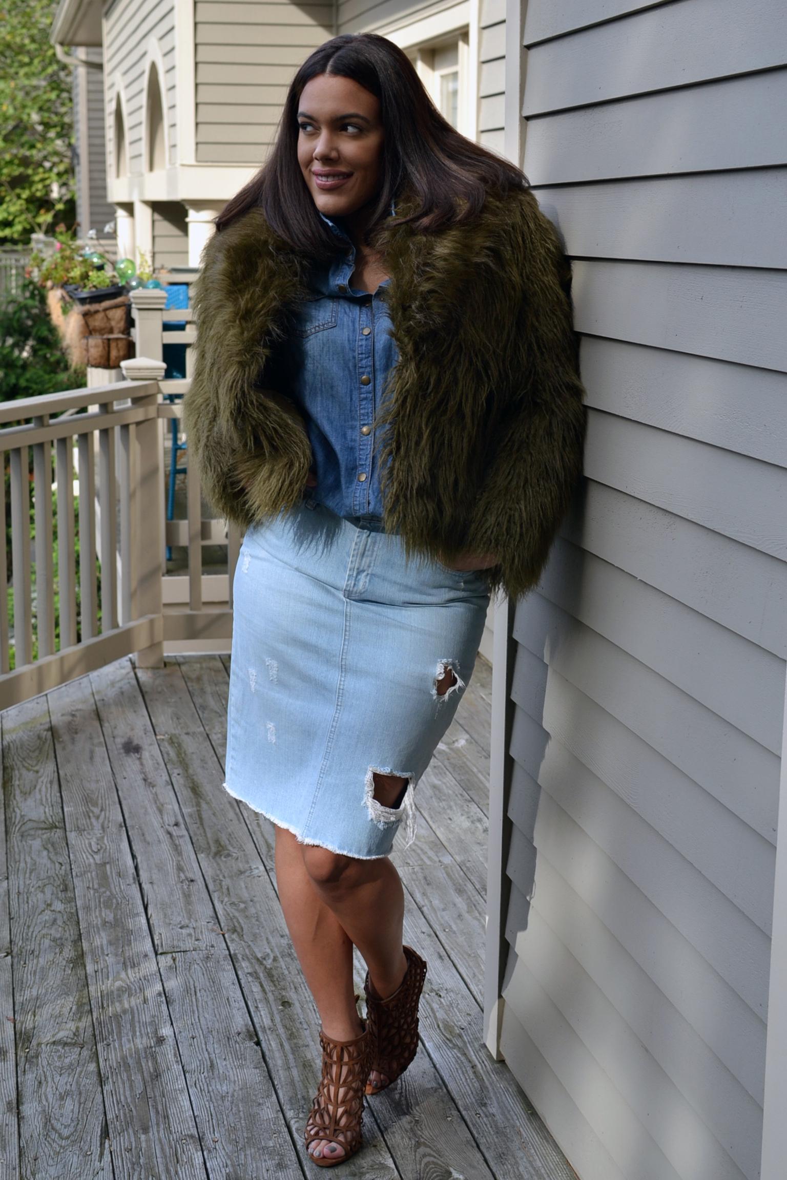 how-to-wear-hm-studio-autumn-winter-aw-14-collection-green-fur-coat-jacket-distressed-denim-skirt-zara-caged-heels-denim-on-denim.jpg