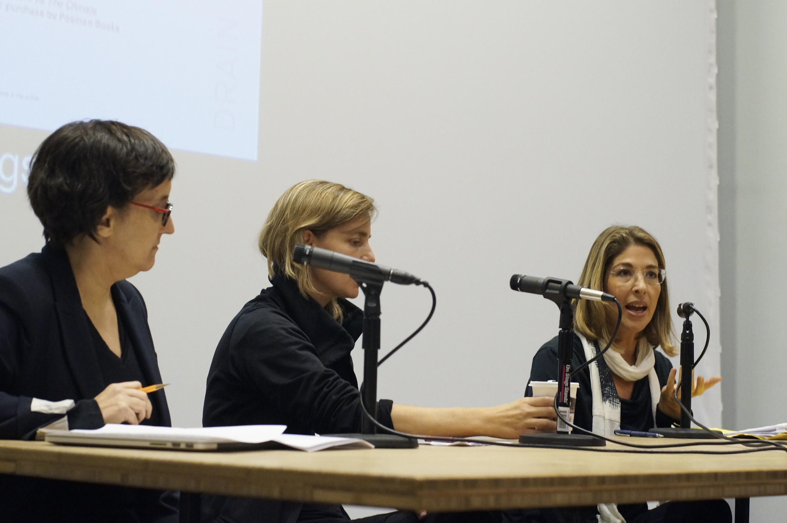 Laura Kurgan, Kate Orff, and Naomi Klein discuss planning for climate change, September 24, 2014, Wood Auditorium, Columbia University.