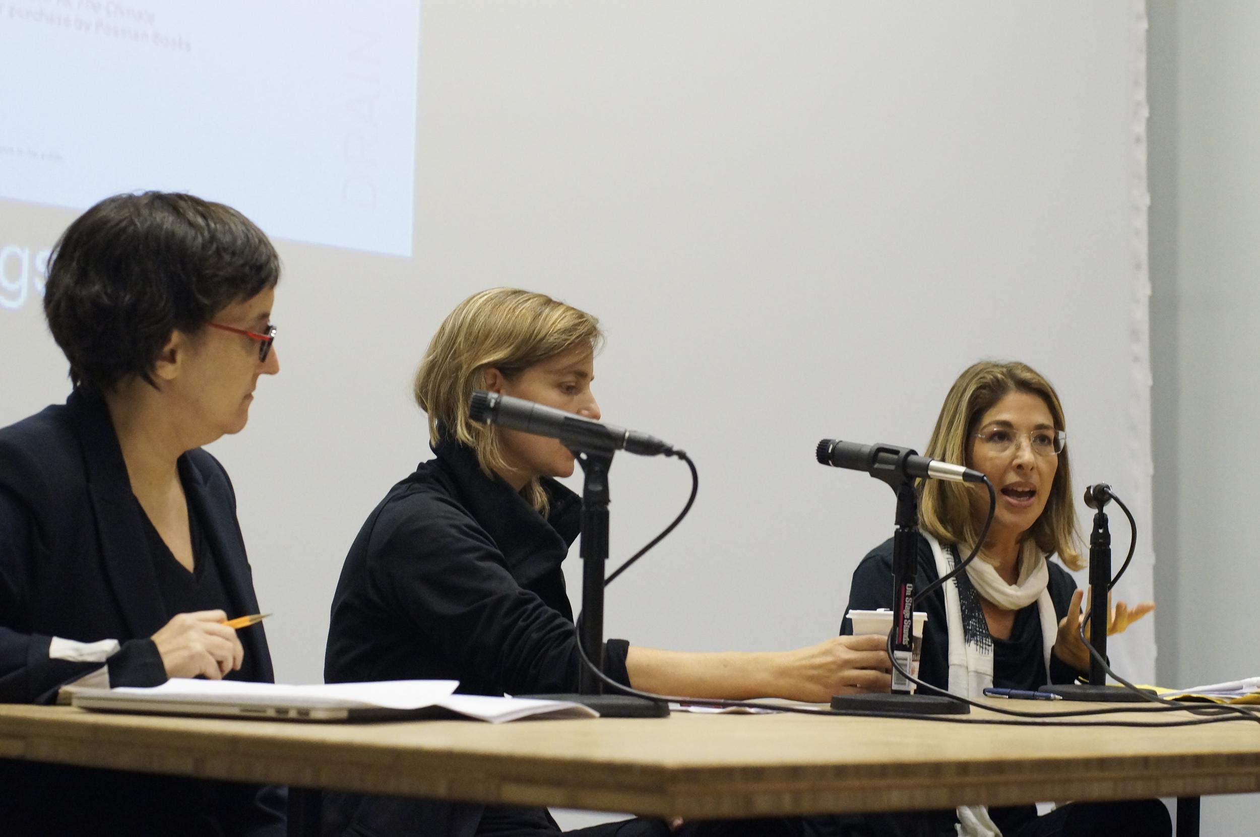 Laura Kurgan, Kate Orff, and Naomi Klein discuss planning for climate change, September 24, 2014, Wood Auditorium, Columbia University.