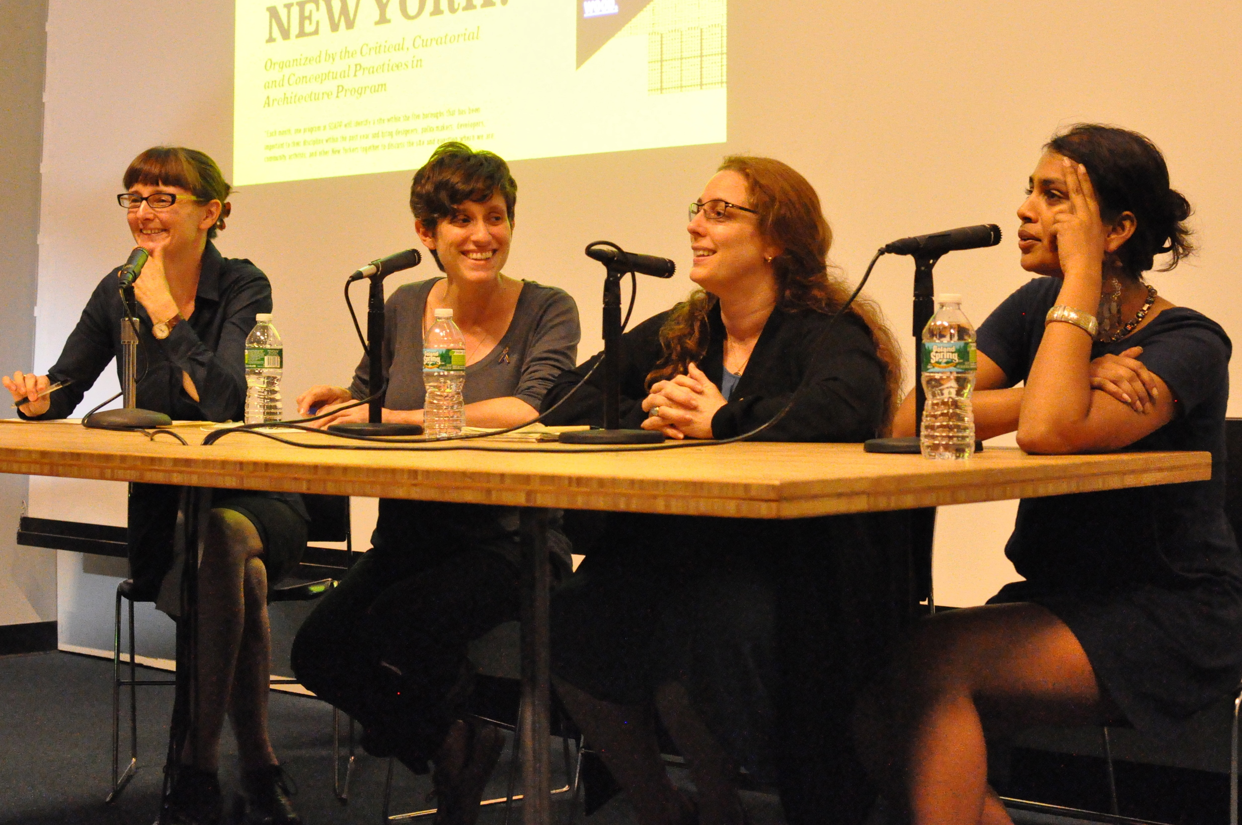 Felicity Scott, Larissa Harris, Tania Brugera, and Prerarna Reddy, September 26, 2011, Wood Auditorium, Columbia University.