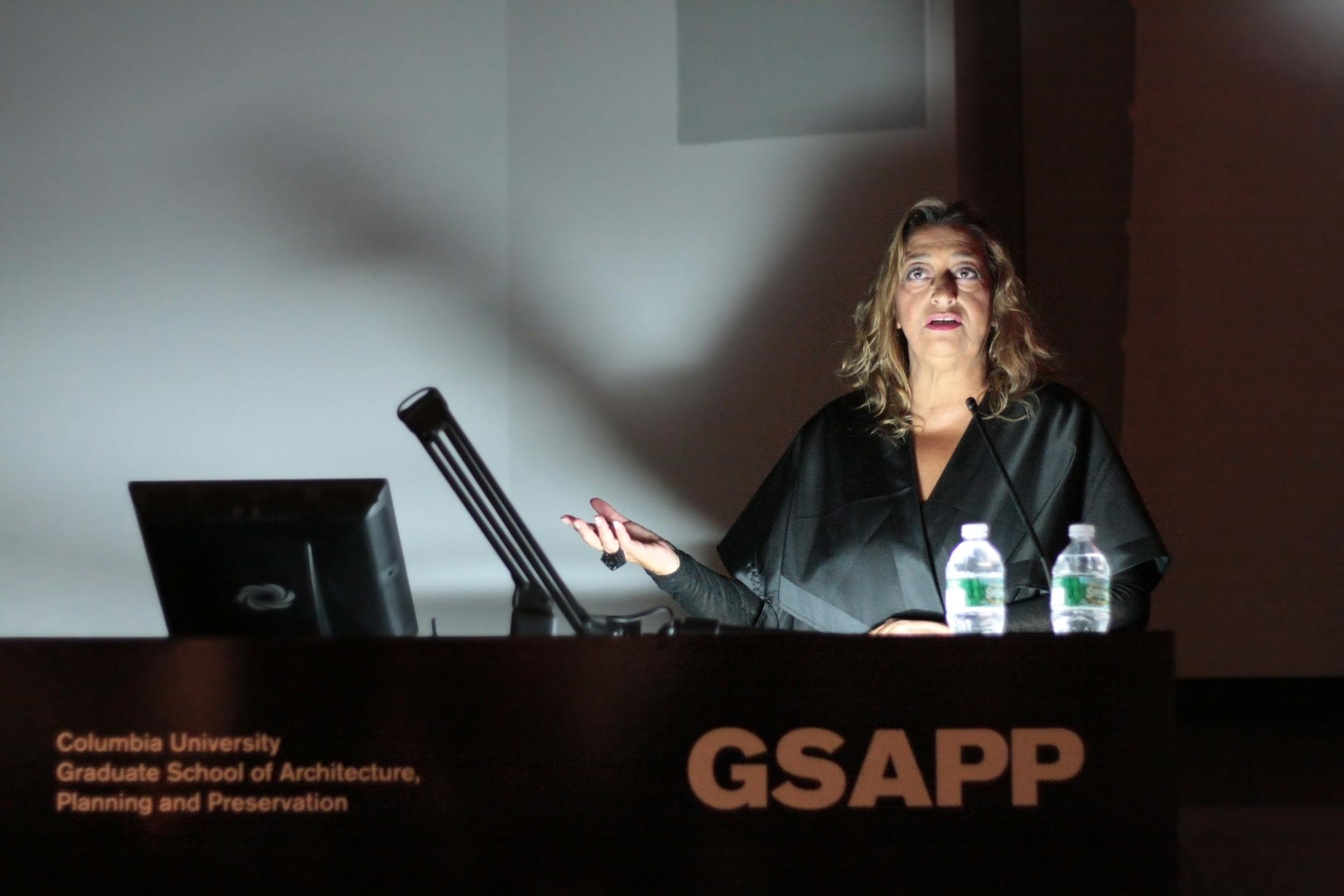 Zaha Hadid, November 16, 2011, Wood Auditorium, Columbia University.