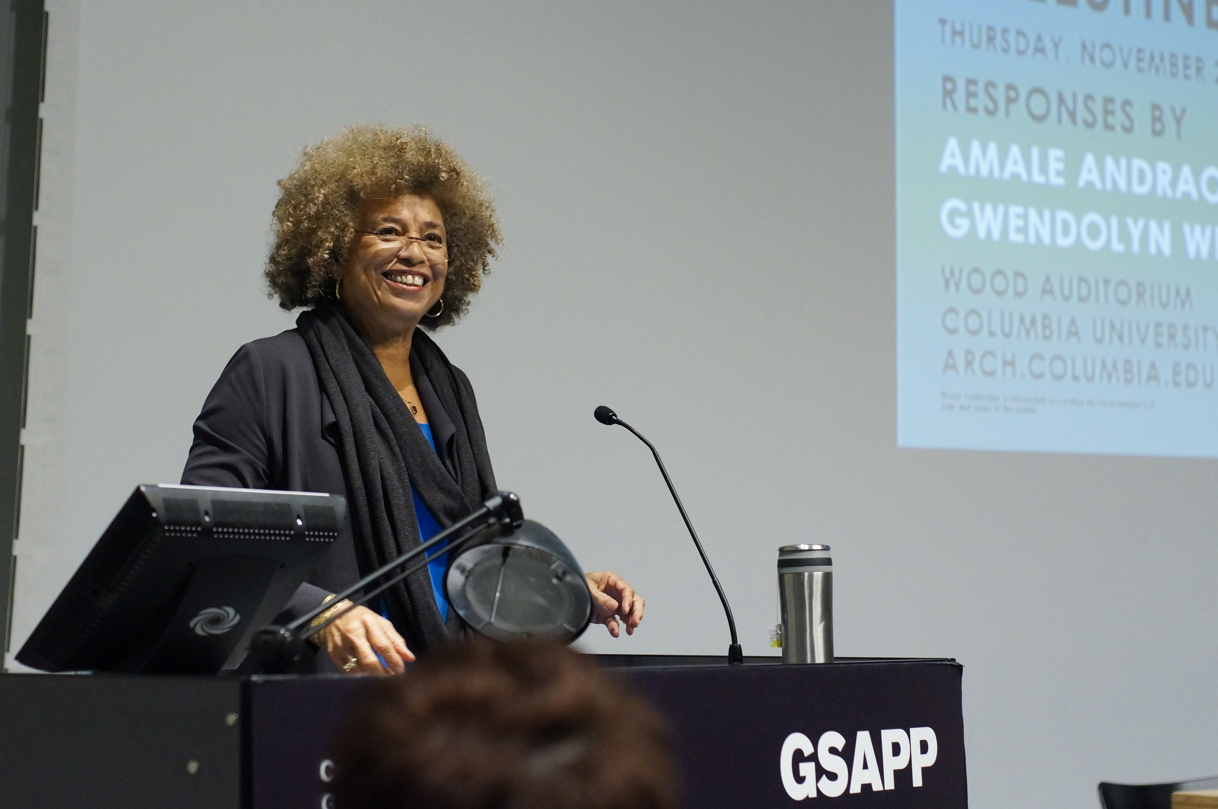 "Angela Davis delivers the lecture ""Enclosures: Quotidian Carceralities in the US and Occupied Palestine,"" November 20, 2014, Wood Auditorium, Columbia University."