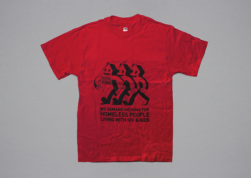 An early Housing Works T-shirt, designed for the VI International AIDS Conference in San Francisco in 1990.