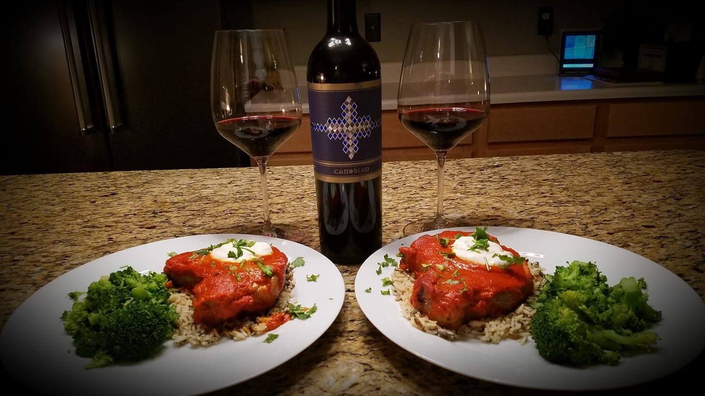 North African Pork Chops with Wild Rice and Steamed Broccoli. Paired with Can Blau Spanish Red Blend.