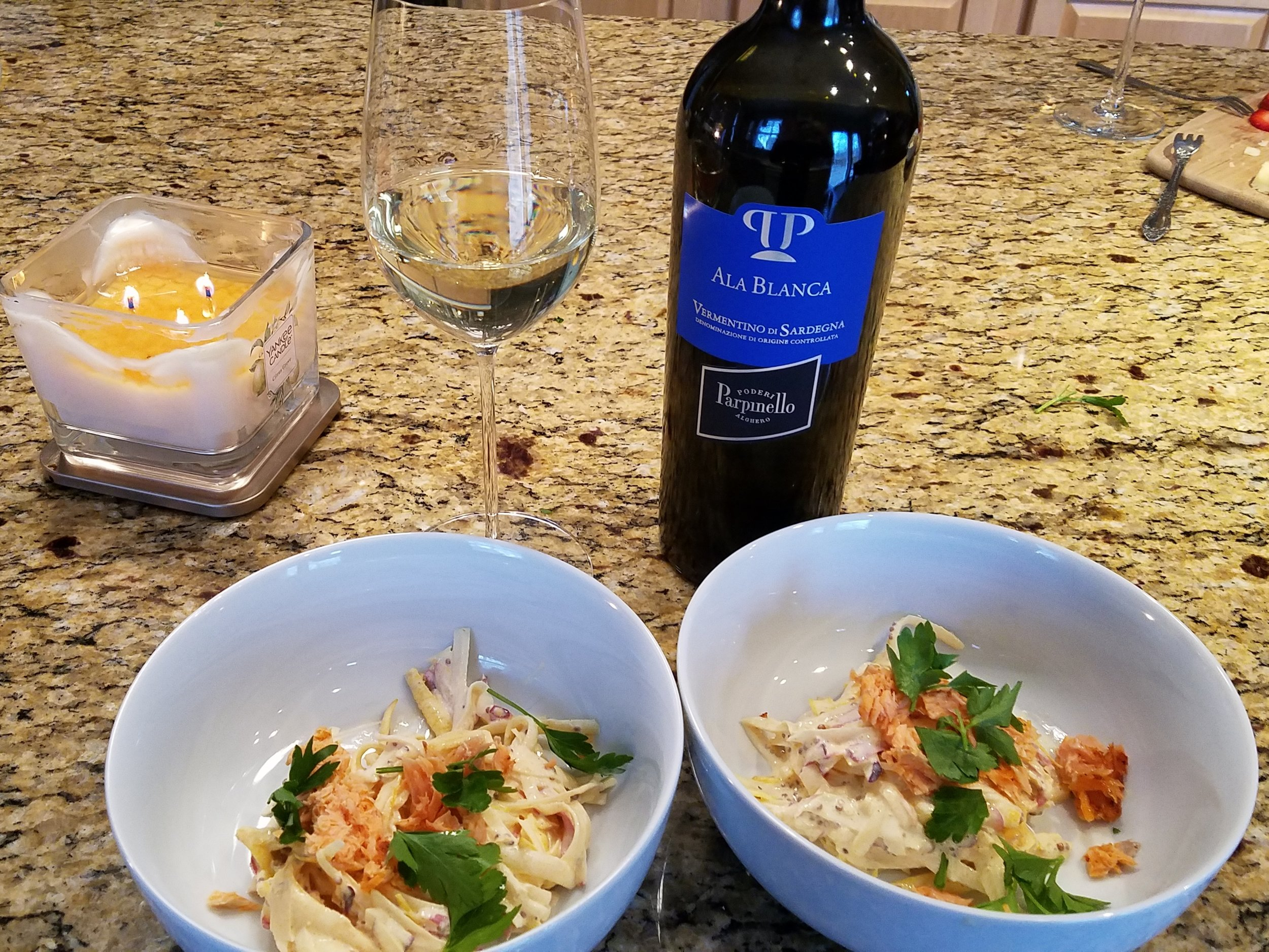 Roots Rémoulade with Smoked Salmon  paired with Ala Blanca Vermentino