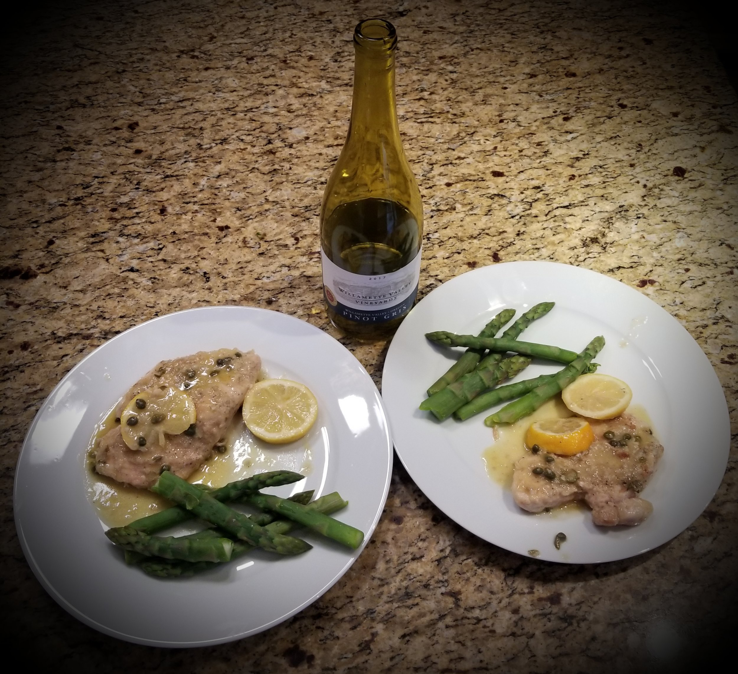 Chicken Piccata with Steamed Asparagus paired with Willamette Valley Vineyards Pinot Gris