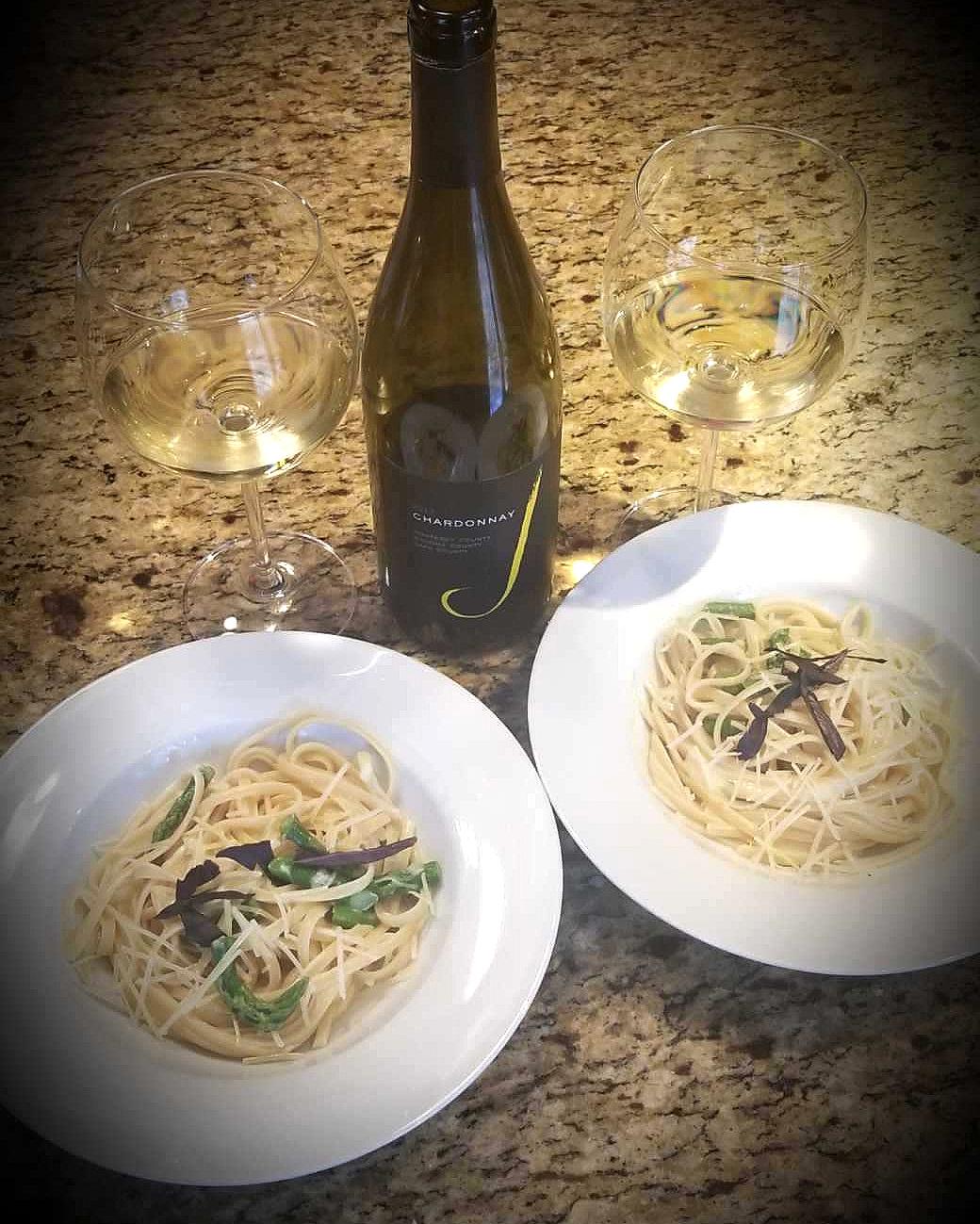 Drunken Lemon Cream Pasta w/Asparagus paired with J Vineyards Chardonnay