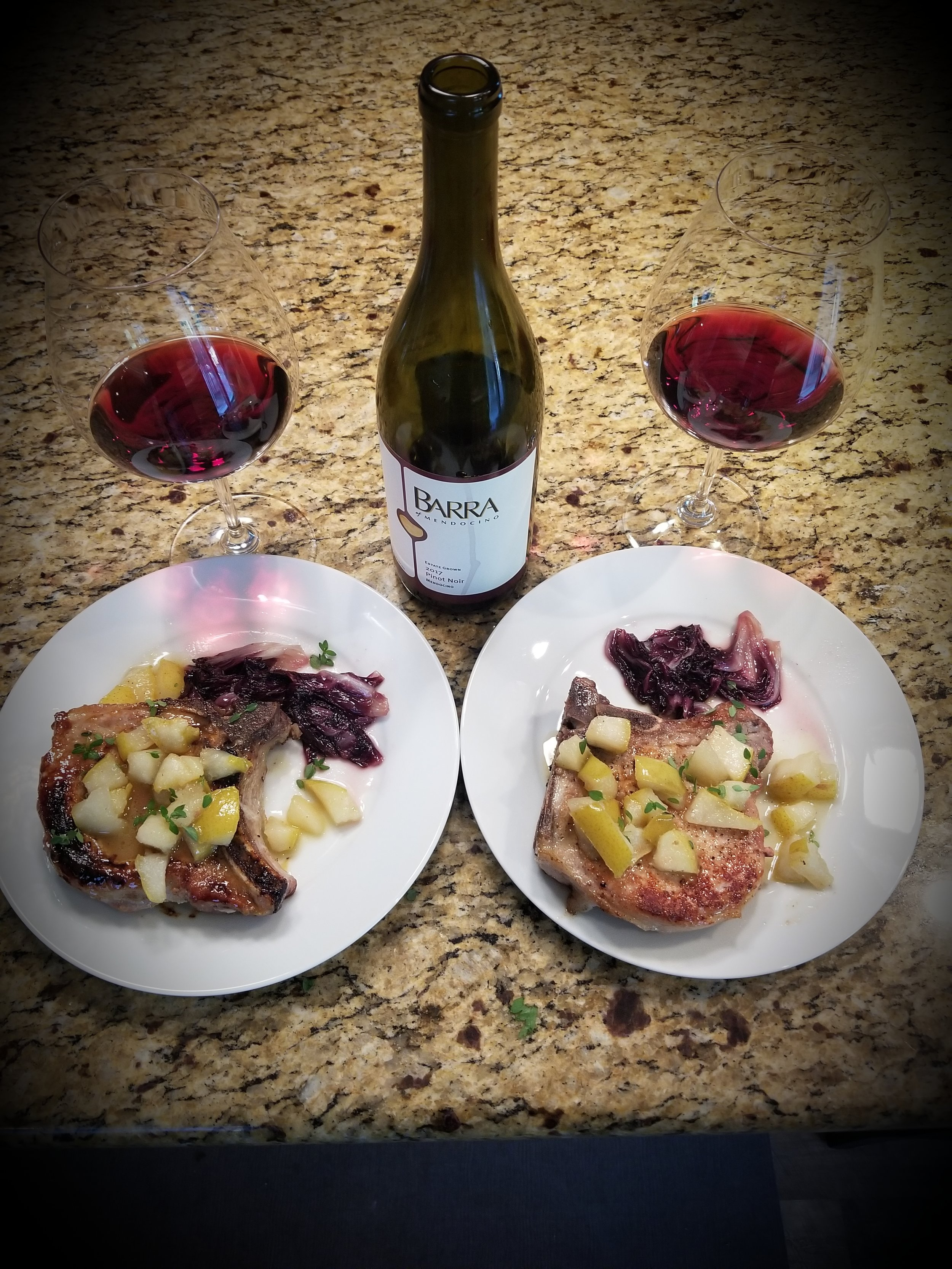 Bone in Pork Chops topped with pears, paired with Barra Pinot Noir