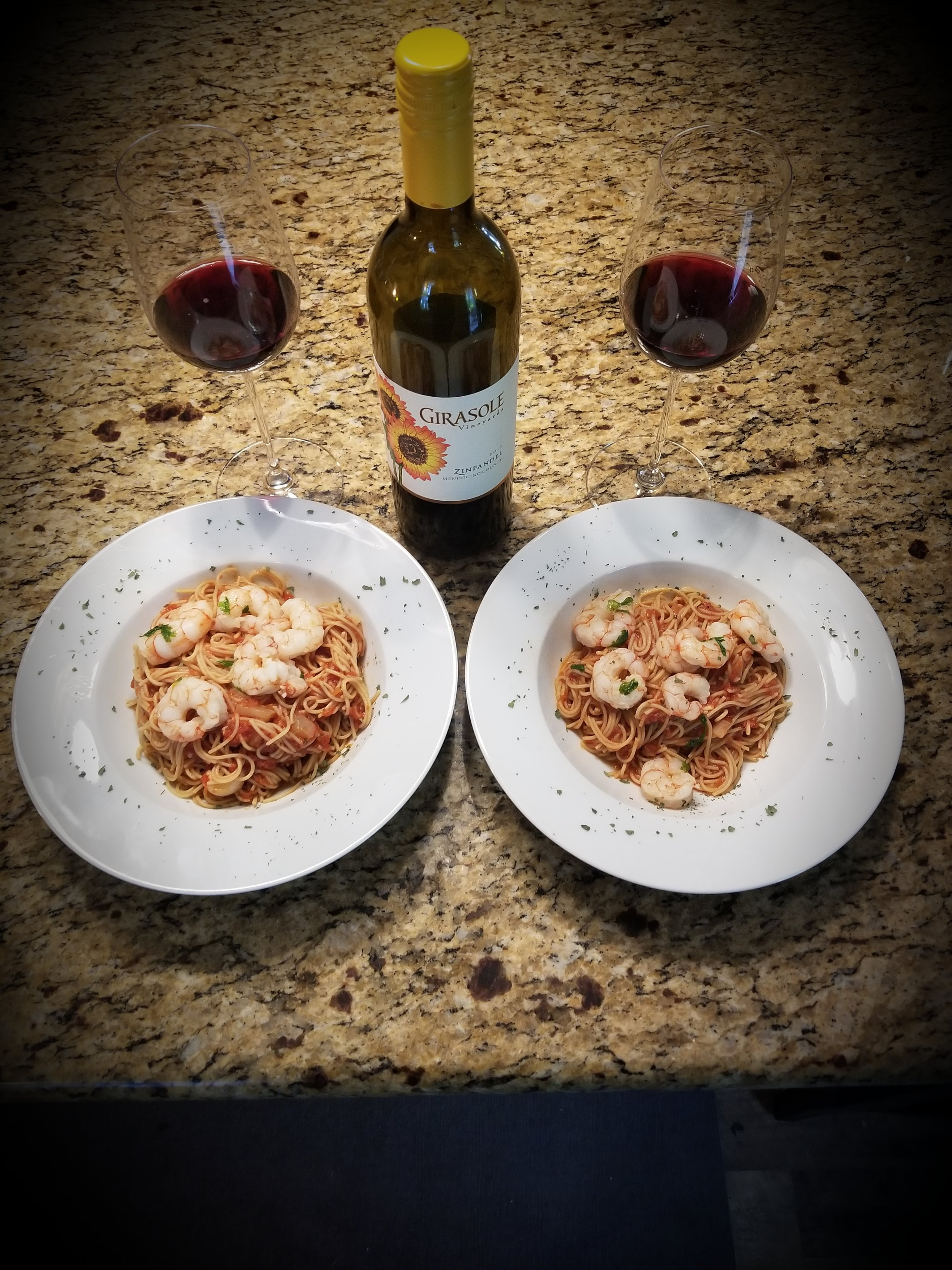 Chipotle Shrimp Sauce with Pasta paired with Girasole Zinfandel