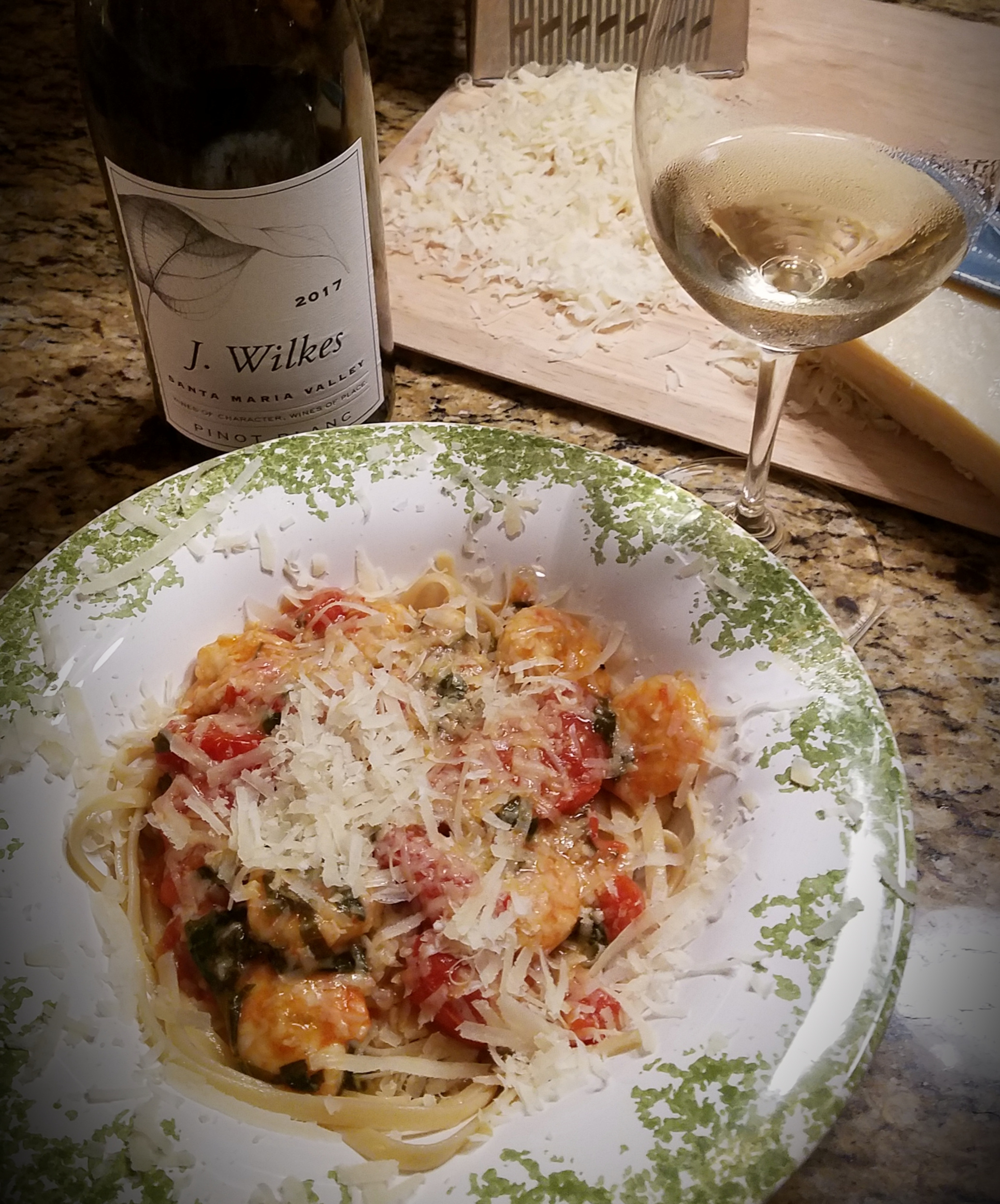 Summer Shrimp Scampi paired with J. Wilkes Pinot Blanc from Santa Maria Valley, California