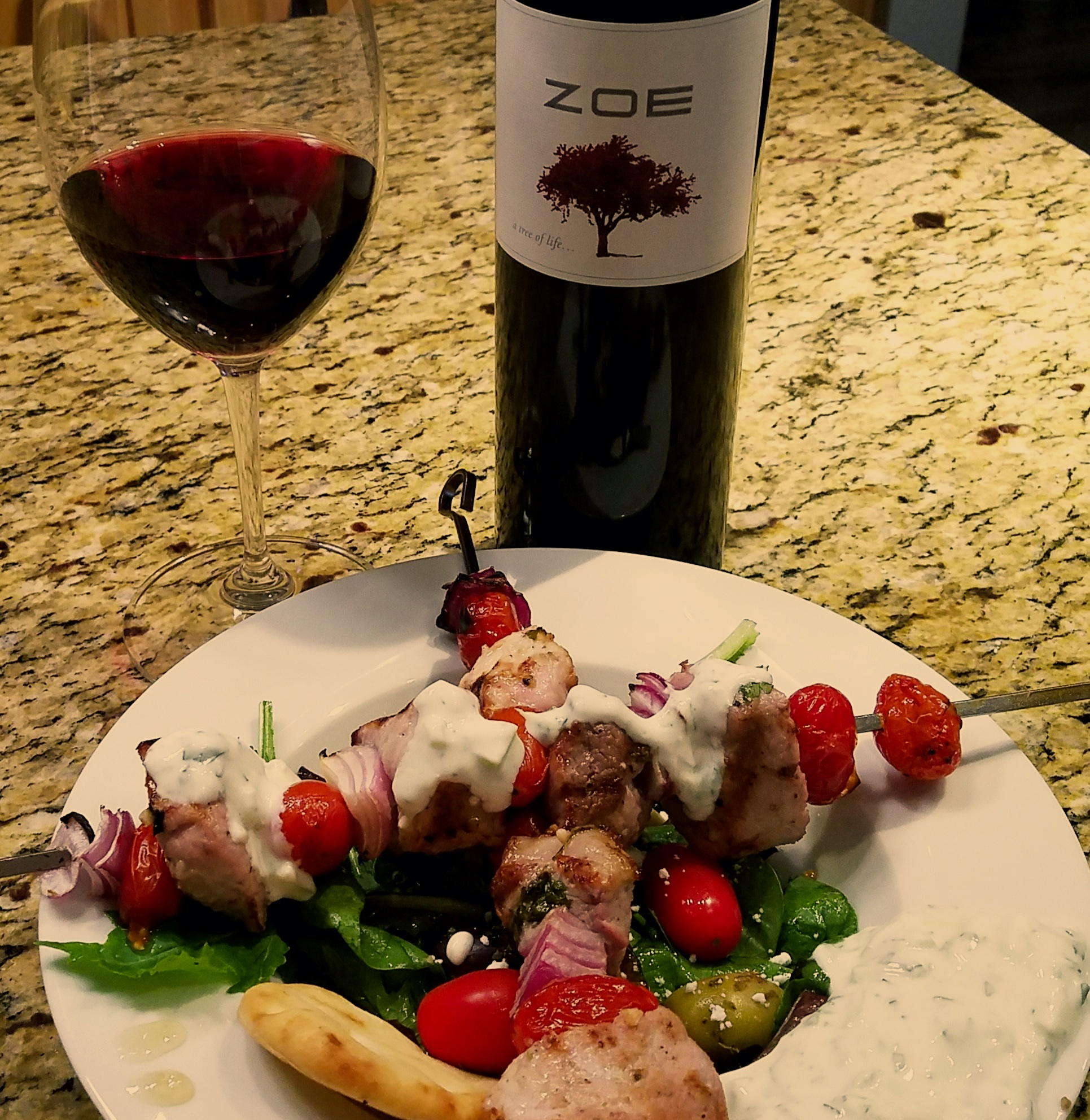 Pork Souvlaki paired with Zoe Red Blend from Greece