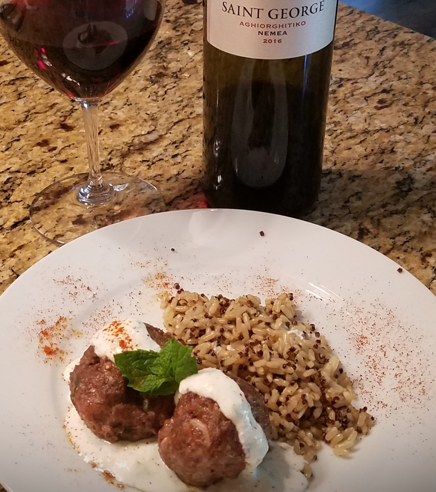 Greek Style Meat Balls with Quinoa and Brown Rice paired with Skouras Aghiorghitiko wine from Greece